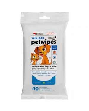 Petkin wipes for Dogs & Cats Value Pack - 40 wipes