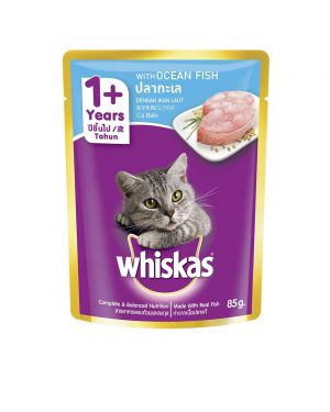 Whiskas Adult (+1 year) Wet Cat Food Food, Ocean Fish, 48 Pouches (48 x 85g)