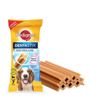 Pedigree Dentastix Dog Treat Oral Care for Adult Small Breed (5-10 kg), (7 Sticks) 110gX10