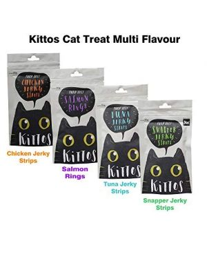 Kittos Cat Treat Multi Flavour (Chicken Jerky Strips, Salmon Rings, Tuna Jerky Strips, Snapper Jerky Strips) for Cats and Kittens