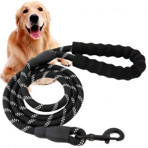 Glenand Stylish Multicolour Nylon Thick Rope Leash Durable Printed Rope for Training Small and Medium Dogs Walking Leads with Strong Hook (Black)