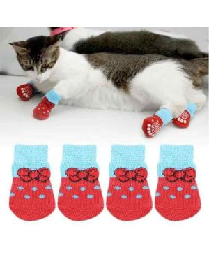 Pet Dog Puppy Cat Non-Slip Socks Pet Cute Indoor for Small Dogs 1SET