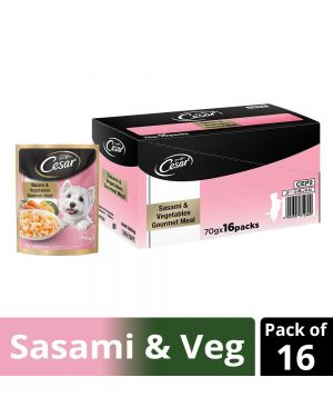 Cesar Premium Adult Wet Dog Food (Gourmet meal), Sasami & Vegetables, 16 Pouches (16 x 70g)
