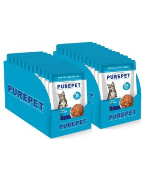 Purepet Wet Cat Food, Real Chicken and Chicken Liver in Gravy, 48 Pouches (48 x 70g)