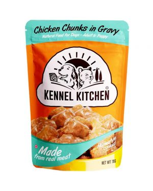 Kennel Kitchen Chicken Chunks in Gravy Wet Dog Food - 70 g (For Puppy & Adult Wet Food) Pack of 12 Pouches