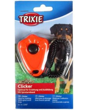 Trixie-Clicker with spiral wrist loop Dog Training Clicker For Dog, Cat & Horse Plastic Training Aid