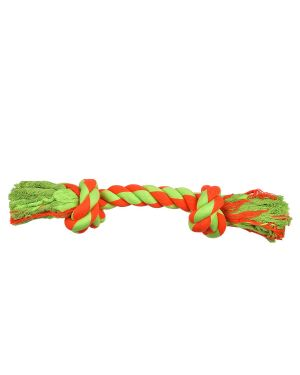 COTTON KNOTTED ROPE DOG TOY SMALL ORANGE + GREEN  8 inch