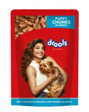 Drools Puppy - Real Chicken and Chicken Liver Chunks in Gravy 150GM POUCH PACK OF 24