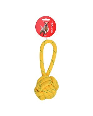 Ball and short rope toy  with handle