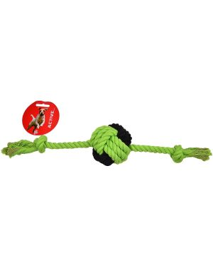 BALL AND SHORT ROPE TOY WITH HANDLE  GREEN + BROWN 15 inch