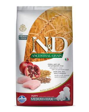 Farmina N&D Ancestral Grain Dry Dog Food, Puppy Medium and Maxi Breed, 2.5-kg, Chicken and Pomegranate