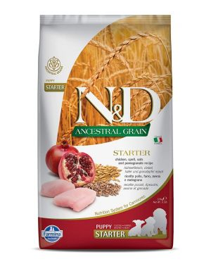 Farmina N&D Ancestral Grain Dry Dog Food, Puppy Starter, All Breed, 2.5-kg, Chicken and Pomegranate