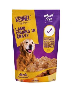 Kennel Kitchen (All Breeds & Ages) Lamb Chunks in Gravy Wet Dog Food - 70 g (For Puppy & Adult Wet Food) Pack of 12 Pouches