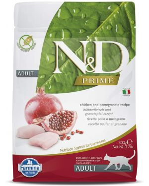 N&D Prime Dry Cat Food, Adult, Grain-Free, 300gm, Chicken and Pomegranate