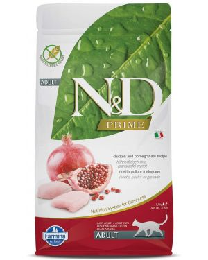 FARMINA N&D Prime Dry Cat Food, Neutered Adult, Grain-Free, 1.5-kg, Chicken and Pomegranate