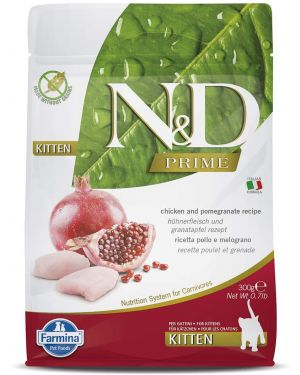 N&D Prime Dry Cat Food, Kitten, Grain-Free, 300gm, Chicken and Pomegranate