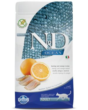 Farmina N&D Ocean - Cat Dry Food - Herring & Orange- Grain Free - Adult 1.5kg