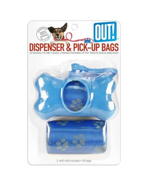 OUT! Bone Dispenser with Waste Pick-Up Bags, Color May Vary