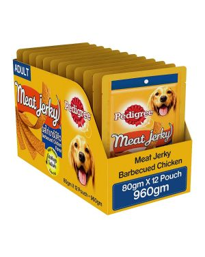 Pedigree Meat Jerky Adult Dog Treat , Barbecued Chicken, 12 Packs (12 x 80g)