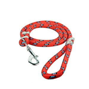 Glenand Stylish Multicolour Nylon Thick Rope   Leash Durable Printed Rope for Training Small   and Medium Dogs Walking Leads with Strong   Hook (RED)