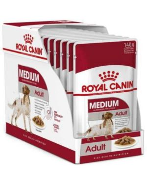 Royal Canin Medium Adult Dog Food, Gravy, 10 pouches 140gms each Meat 1.4 kg Wet Dog Food (Pack of 10)
