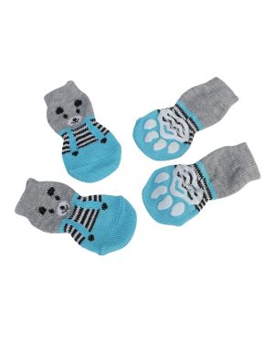 Cute Puppy Dog Shoes Anti-Slip Knit Socks Small Dogs Cat For Winter Indoor Wear Slip On Paw Protector