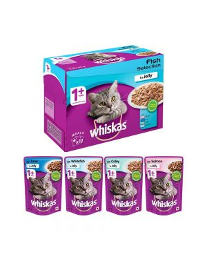 Whiskas Adult (+1 year) Wet Cat Food Food, Fish Selection (Salmon, Coley, Tuna, Whitefish), 48 Pouches (48 x 85g)