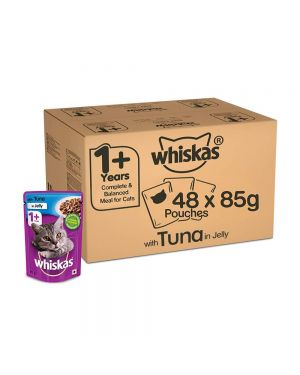 Whiskas Adult (+1 year) Wet Cat Food Food, Tuna in Jelly Monthly Pack, 48 Pouches (48 x 85g)