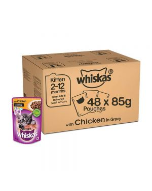 Whiskas Adult (+1 year) Wet Cat Food Food, Chicken in Gravy Monthly Pack, 48 Pouches (48 x 85g)
