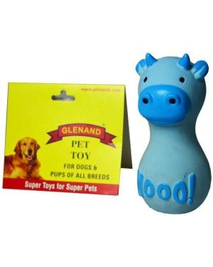 Glenand Latex Stuffed Grunter Dumbell Cutie Cow Squeaky Toy For Puppy & Dog