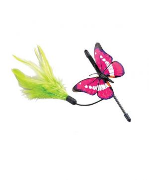 Colourful Butterfly Shaped Cat Teaser Toy with Plastic Wand