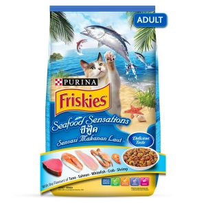 Friskies Seafood Sensations Tuna Salmon Whitefish Crab With Shrimp Dry Cat Food 1.2KG PACK