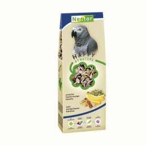 PREMIUM FOOD FOR LARGE PARROTS WITH NUTS, MUNGO BEANS AND BANANAS 700GM