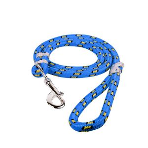 Glenand Stylish Multicolour Nylon Thick Rope   Leash Durable Printed Rope for Training Small   and Medium Dogs Walking Leads with Strong   Hook (Blue)