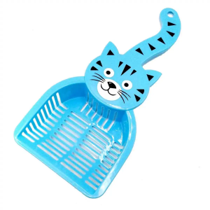 Glenand Thick Plastic Cat Litter Scooper With Cat Face Color Blue