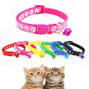 Radium Adjustable Puppy Paw Collar With Bell Cat Pet Kitten Snap Buckle Colourful (Pack of 1 Piece)