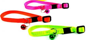 PETZ Extra Small  Radium Cat Plain Collar With Bell, Adjustable Collar For Kitten, Puppy, Color May Vary 1Piece