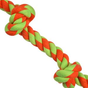 COTTON KNOTTED ROPE DOG TOY LARGE ORANGE + GREEN  16 inch