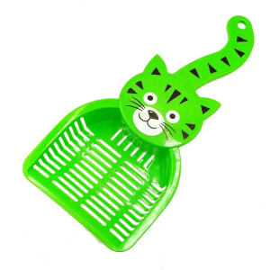 Glenand Thick Plastic Cat Litter Scooper With Cat Face Color Green