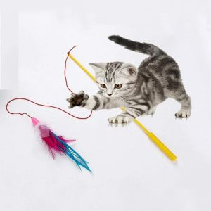 Trixie Cat Toys - Playing Rod With Leather Straps & Feathers
