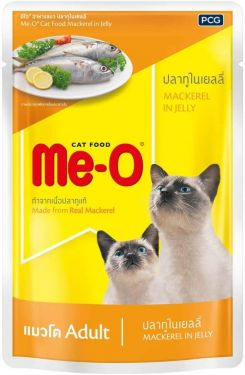 Me-O Adult Cat Food in Jelly, Mackerel - 80 grams (48 pouches)