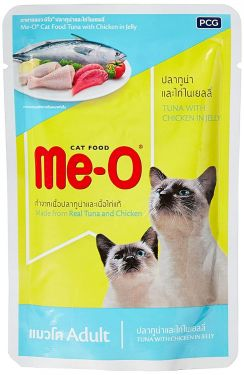 Me-O Adult Cat Food Tuna With Chicken in Jelly 80 grams (48 pouches)